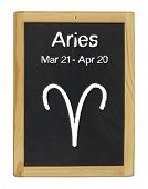 the zodiac sign Aries on a blackboard