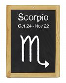 the zodiac sign Scorpio on a blackboard