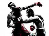 pic of kickboxing  - two caucasian  men exercising thai boxing in silhouette studio  on white background - JPG