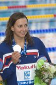 ROME, ITALY - JULY 02 2009; Rome Italy; Rebecca Soni (USA) silver medal winner in the womens 50m breaststroke at the 13th Fina World Aquatics Championships held in the The Foro Italico Swimming Complex