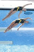 ROME, ITALY - JULY 24 2009; Rome Italy; Briony Cole and Sharlen Stratton competing in the women's sy