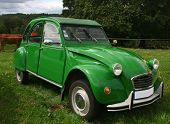 BEAULIEU, FRANCE - JULY 23: (Ed Note: License Plate Altered) A green citroen 2 CV on show on July 23
