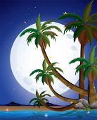 Illustration of a beach with a bright fullmoon