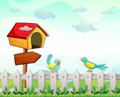 image of bird fence  - Illustration of a bird house with an arrow board and birds above the fence - JPG