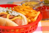 pic of hot dog  - Freshly grilled hot dog with french fries and condiments - JPG