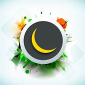 Tag, sticker or label with golden moon on grungy colorful background for Muslim community festival Eid Al Fitr (Eid Mubarak).