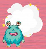 Illustration of a stationery with a blue hairy monster