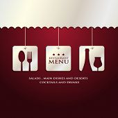 restaurant menu presentation in red background