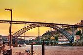 Amazing Sunset Over Dom Luis Bridge In Porto