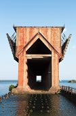 stock photo of chute  - old iron ore dock in Marquette harbor - JPG