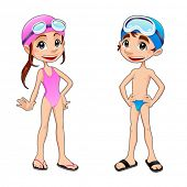 Boy and girl ready to swim. Funny cartoon and vector isolated sport characters