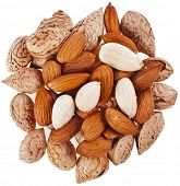 almonds seeds heap top view surface close up isolated on a white background