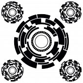 Set of Five Black and White Futuristic Circle Charts. Rasterized version