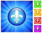 Fleur de lis Icon on Round Button with Blue Glow
