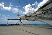 View Of Secured Mainsail Across Sailboat Deck