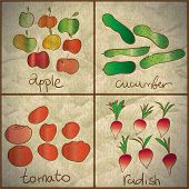 Vegetables And Fruits Are Painted On Old Paper