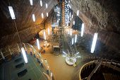 Underground Lake In Turda Salt Mine