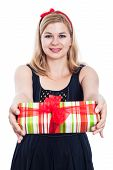 Happy Woman Giving Present