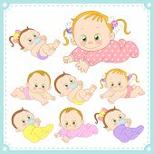 stock photo of twin baby girls  - vector illustration of baby boys and baby girls with white background - JPG