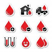 stock photo of hemoglobin  - Donation blood concept black and red labels set isolated on white - JPG