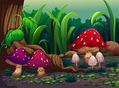stock photo of magical-mushroom  - Illustration of the giant mushrooms in the forest - JPG