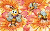 Ilustração das três abelhas coletando alimentos