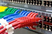 image of utp  - Network switch and UTP ethernet lan cables - JPG