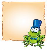 picture of amphibious  - happy party frog with background signboard vector - JPG