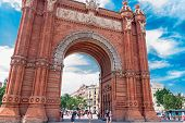 Barcelona, Spain - July 21: Arc De Triomf Was Built For The 1888 Universal Exposition As Its Main Ac