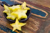 Slices Of Carambola In Black Bowl