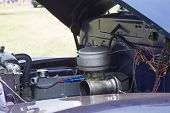 Blue Chevy 3800 Truck Engine