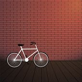 City Bicycle And Red Brick Wall.