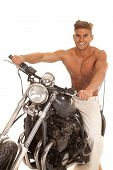 Man No Shirt On Motorcycle Big Smile