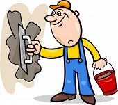 stock photo of mason  - Cartoon Illustration of Worker or Mason with Trowel and Plaster or Cement doing Renovation - JPG
