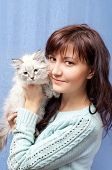 Charming Woman And Sibirsky Nevsky Kitten