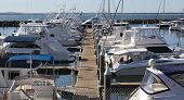 Yachts And Motor Boats At Harbor Moored At Marina. Port  Stephens. Nelson Bay.  Australia.