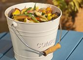picture of rich soil  - Detail outdoor shot of a kitchen compost bucket - JPG