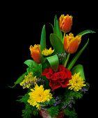Bouquet On Black Background Closeup