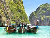 Longtail Boats in Maya Bay, Ko Phi Phi, Thailand