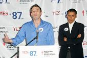 Ben Affleck and Barack Obama at a press conference supporting Prop 87, USC, Los Angeles, CA 10-27-06