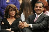 Paula Abdul and Antonio Villaraigosa at the Ceremony Honoring Los Angeles Lakers Owner Jerry Buss wi
