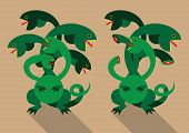 stock photo of hydra  - Flat vector illustration of mythical monster  - JPG
