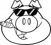 Black And White Businessman Pig Head With Sunglasses And Cigar