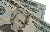 pic of twenty dollar bill  - Close up details of twenty dollar bills - JPG