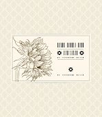 stock photo of perfume  - Vector vintage card with sunflower on soft beige background - JPG