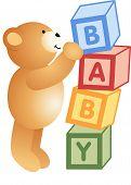 Teddy Bear Playing with Alphabet Blocks