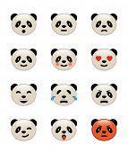 Panda bear emotion icons