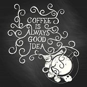 Coffee is always good idea - on chalkboard