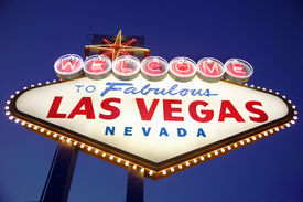 picture of las vegas casino  - Las Vegas Welcome sign at night - JPG