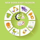 Circle Vector Baby Infographic.new Born Baby Fashion